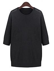 Damen Standard Pullover-Übergröße Lässig/Alltäglich Einfach Solide Weiß Schwarz Rundhalsausschnitt ¾-Arm Polyester Herbst Mittel
