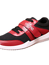 Men's Sneakers Fall Flats Leather Tulle Casual Flat Heel Magic Tape Black Red White