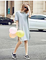 Mulheres Vestido,Casual / Tamanhos Grandes Simples Sólido Decote Redondo Altura dos Joelhos Meia Manga Cinza Algodão Verão