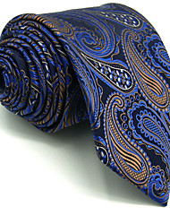 Men's Necktie Tie For Men 100% Silk Dark Blue Paisley Extra Long Wedding Business