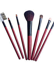 7 Pcs Red Wood Handle Artificial Hair Makeup Brushes Sets