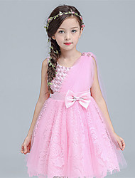 A-line Knee-length Flower Girl Dress - Cotton / Lace / Satin Sleeveless Jewel with Bow(s) / Sash / Ribbon