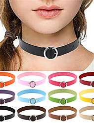Women's Choker Necklaces Collar Necklace Leather Silver Plated Alloy Sexy Fashion Vintage Punk Adjustable PersonalizedPink Light Blue