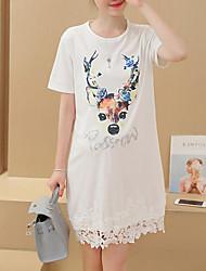 Maternidade Solto Vestido,Casual Simples Estampado Decote Redondo Acima do Joelho Manga Curta Branco Poliéster Verão