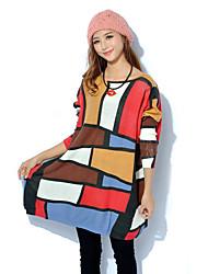 Damen Lang Pullover-Übergröße Boho / Street Schick Geometrisch / Druck Weiß / Beige Rundhalsausschnitt Langarm Wolle / Acryl / Nylon