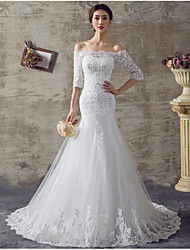 Fit & Flare Wedding Dress Floral Lace Sweep / Brush Train Off-the-shoulder Organza with Appliques Beading Ruffle
