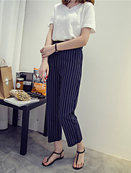 Women's Striped Blue / White Loose Pants,Street chic