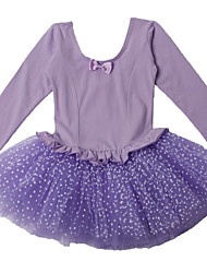 Purple One-piece Ballet Dancewear Polka Dots Tulle Skirt Ballet Tutu Dress with Long Sleeve for 3~8 Years Children Girls