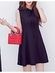 Women's Going out Simple A Line Dress,Solid Asymmetrical Above Knee Sleeveless Red / Black Cotton Fall