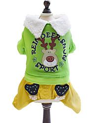 Hunde Mäntel / Pullover Grün / Gelb Hundekleidung Winter / Frühling/Herbst Tier / Sport Sport / Weihnachten / Modisch Lovoyager