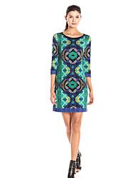 Damen Etuikleid Kleid-Ausgehen Einfach Geometrisch Rundhalsausschnitt Übers Knie ¾-Arm Grün Andere Frühling