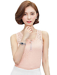 Women's Party/Cocktail Simple Summer Tank Top Solid Round Neck Sleeveless Pink / White / Black Vest