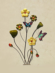 E-HOME® Metal Wall Art Wall Decor,Colorful Flowers And Butterflies Wall Decor One PCS