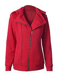 Women's Casual/Daily Street chic Regular Hoodies,Solid Red Hooded Long Sleeve Cotton Spring / Fall Medium