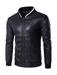 Men's Slim Plaid Sleeve Pocket Design Motorcycle Leather Jacket,PU / Polyester Color Block Black / White