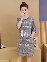 Maternity Casual/Daily Simple Loose Dress,Solid Round Neck Above Knee ½ Length Sleeve Gray Spandex Summer