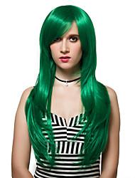 зеленый уровень длинные аддуктор прямые волосы, парики способа.