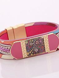 Fashion Accessories Metal Ceramic Measle Joker Tide Cortex Magnet Buckle Bracelet With Leather Bracelet
