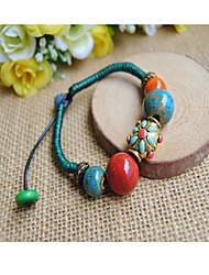 Women's Blue Circle Ceramic Strand Bracelets 1pc