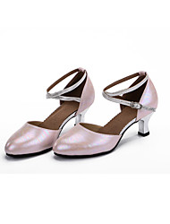 Customizable Women's Dance Shoes Leather  Modern Heels Cuban Heel Outdoor / Performance Blue / Pink / Silver / Fuchsia