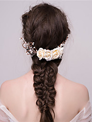 MISS DIVA Women's Tulle Headpiece Hair Combs 1 Piece White Flower 52