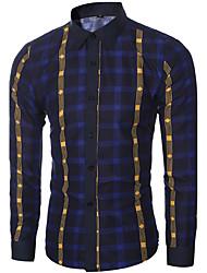 Men's Plaids Casual / Work Shirt,Cotton Long Sleeve Blue / Red