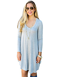 Women's Casual/Daily Sexy Loose Dress,Solid Round Neck Mini Long Sleeve Blue / Orange Cotton Spring