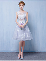 A-Line Scoop Neck Short / Mini Tulle Bridesmaid Dress with Appliques