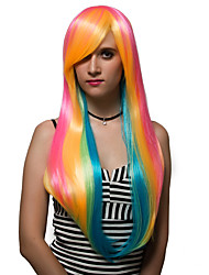 Rainbow color long hair, fashion wigs.