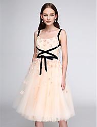 2017 ts coquetel couture® vestido A linha de tule alças na altura do joelho com flor (s)