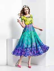 BORME® Women's V Neck Short Sleeve Bohemia Floral Print Maxi Dress-Y013