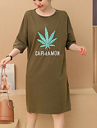 Maternity Casual/Daily Simple T Shirt Dress,Solid / Jacquard Round Neck Midi Long Sleeve Blue / Green Cotton Fall