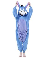 Kigurumi Pyjamas New Cosplay® Esel Gymnastikanzug/Einteiler Fest/Feiertage Tiernachtwäsche Halloween Blau Patchwork Polar-Fleece Kigurumi
