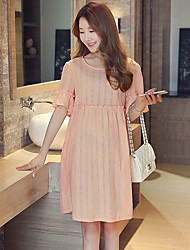 Maternity Casual/Daily Simple Loose Dress,Solid Round Neck Above Knee ½ Length Sleeve Pink Polyester Summer