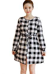 Women's Plus Size / Casual/Daily Simple Shirt DressCheck Round Neck Above Knee Long  Rayon All Seasons Mid Rise