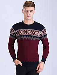 Men's Casual/Daily Formal Regular Cardigan,Print Long Sleeve Cotton Spring Fall Winter