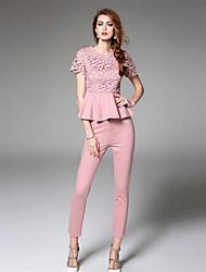 kmdm Frauen solid pink / schwarz / lila-Set, Rundhals Kurzarm