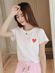 Damen Solide Einfach Lässig/Alltäglich T-shirt,Rundhalsausschnitt Sommer / Herbst Kurzarm Weiß / Schwarz Polyester Mittel