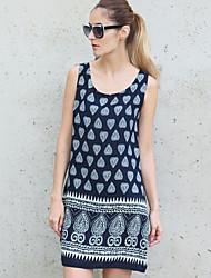 Women's Going out Boho Loose DressPrint Round Neck Mini Sleeveless Blue Acrylic Summer Mid Rise Inelastic Thin
