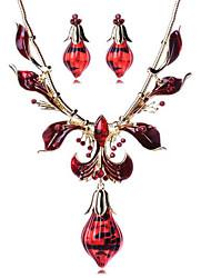 Šperky Set Drahokam Pryskyřice Slitina Bohemia Style Módní Kapka Zlatá Červená Náhrdelník / náušnice Párty Denní Ležérní 1Nastavte