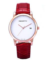 REBIRTH® Brand Women's Simple Fashion Date Display PU Leather Strap Quartz Wrist Watch