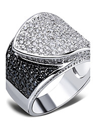 Designer Recommend Ladies Fashion Rings Black & White Cubic Zircon Pave Setting Platinum Plated Copper Ring