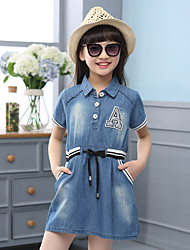 Girl's Cotton Summer Fashion Letter Applique Lapel Short Sleeve Denim Dress