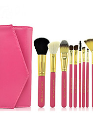 10 Makeup Brushes Set Goat Hair Professional / Full Coverage Wood