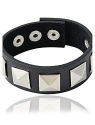 Bracelet Leather Bracelet Alloy / Leather Square Personality Jewelry Gift Black / Silver,1pc