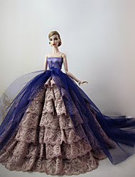 Party/Evening Dresses For Barbie Doll Light Purple / Flaxen Lace / Patchwork Dresses For Girl's Doll Toy