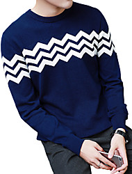 Men's Casual Slim Jacquard Knit Pullovers,Wool / Cotton Long Sleeve Black / Blue / Red / White / Gray