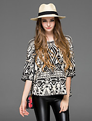 Dreamy Land Women's Casual/Daily Simple Summer Blouse,Geometric Round Neck ¾ Sleeve Black Others Sheer