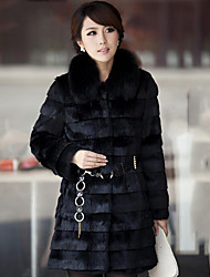 Women's Casual/Daily Plus Size / Street chic Fur Coat,Solid Shirt Collar Long Sleeve Winter White / Black Faux Fur Thick