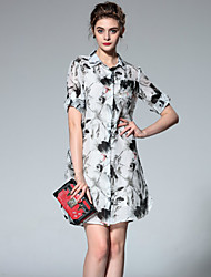 Boutique S Going out Chinoiserie Sheath DressFloral Shirt Collar Knee-length Short Sleeve Black Summer